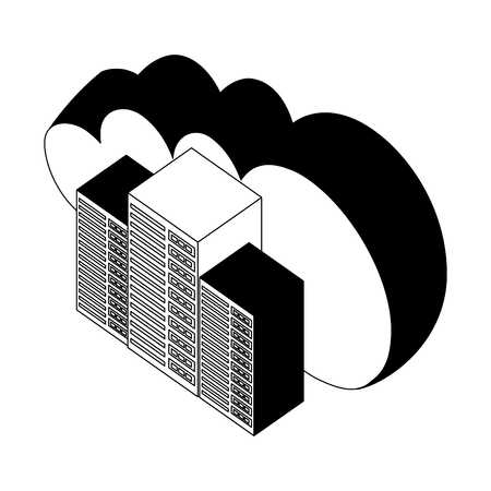 cloud computing with server towers isometric icon vector illustration design