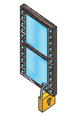 tape film with padlock isometric icon vector illustration design Stock Vector - 101507775