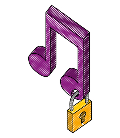 music note with padlock isometric icon vector illustration design