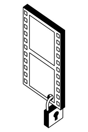 tape film with padlock isometric icon vector illustration design Stock Vector - 101511572