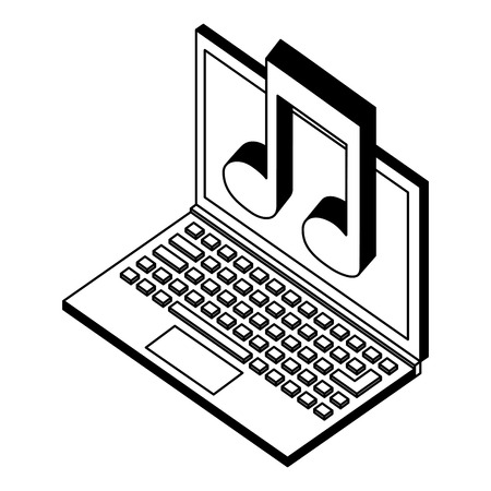 laptop computer with music note isometric icon vector illustration design Иллюстрация