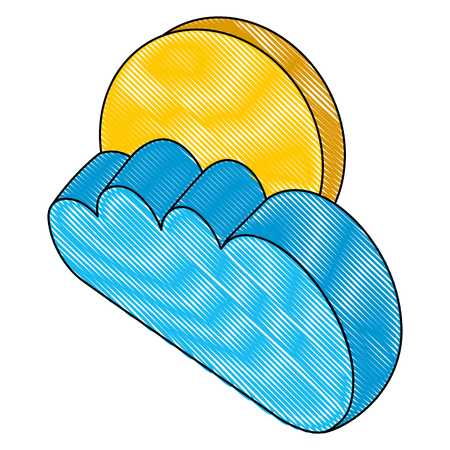 cloud with sun isometric icon vector illustration design