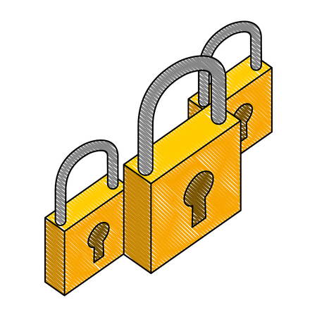 group of safe padlock isometric icon vector illustration design