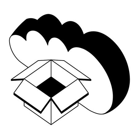 cloud computing with box carton isometric icon vector illustration design Stock Vector - 101511589