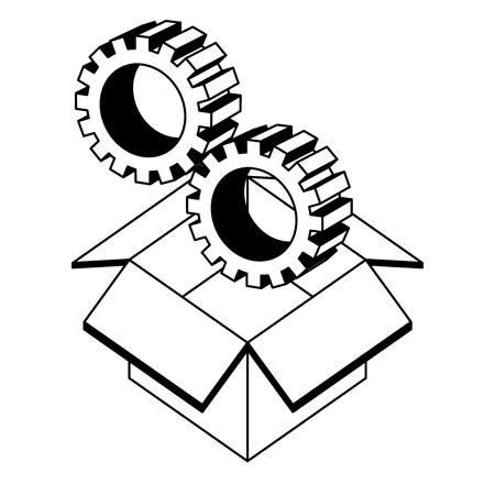 box carton with gears isometric icon vector illustration design Illustration