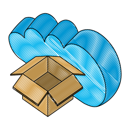 cloud computing with box carton isometric icon vector illustration design