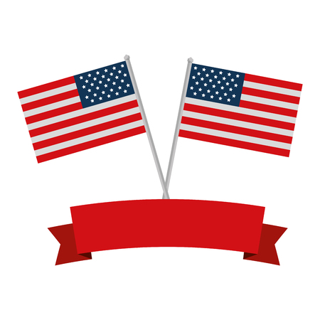 united states of america flags crossed with ribbon frame vector illustration design 向量圖像