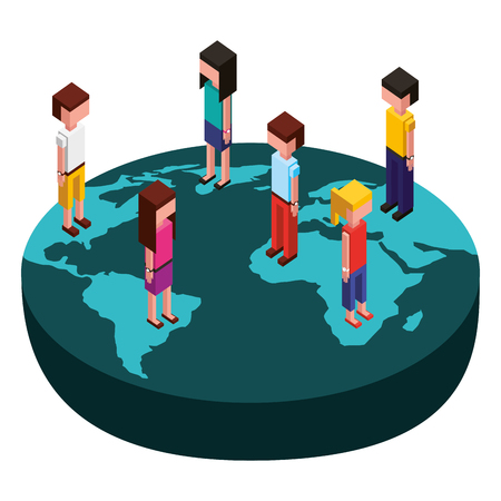 group people with world planet isometric icon vector illustration design