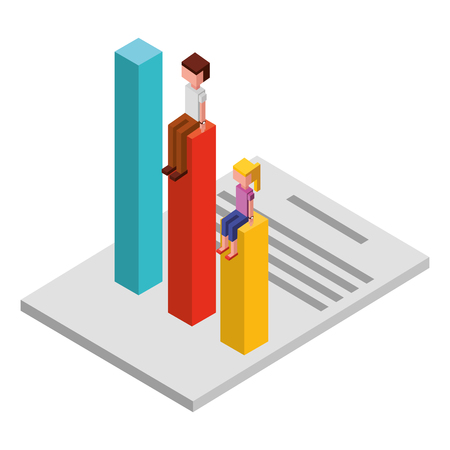 couple with statistics and document isometric icon vector illustration design
