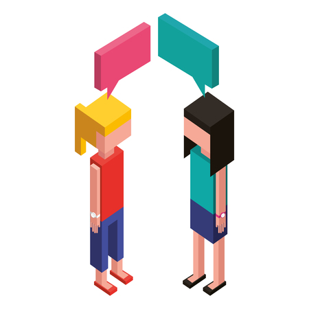 women with speech bubble isometric icon vector illustration design