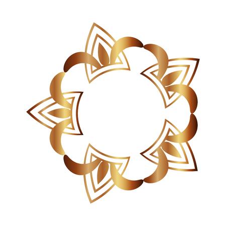 cover frame victorian golden style with floral shape vector illustration design