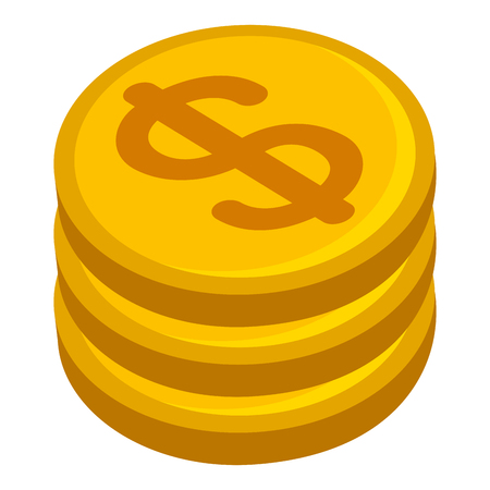 pile of money coins isometric icon vector illustration design