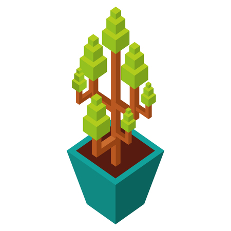 house plant isometric icon vector illustration design