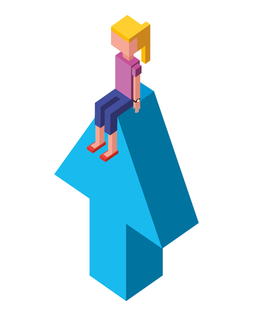 arrow up with young girl isometric icon vector illustration design