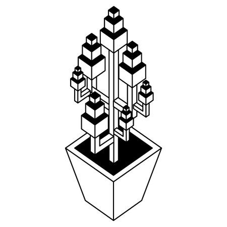 house plant isometric icon vector illustration design