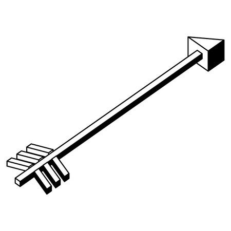 arrow for throw to target isometric icon vector illustration design Çizim