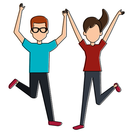 cheerful jumping couple avatars vector illustration design  イラスト・ベクター素材