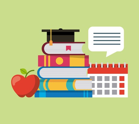learning education stacked books calendar apple graduation hat vector illustration Banco de Imagens - 101532283