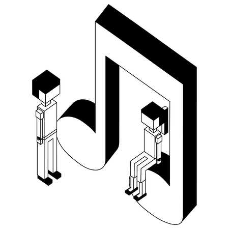 music note with children isometric icon vector illustration design
