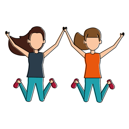 cheerful jumping girls avatars vector illustration design