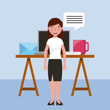teacher smiling office professional learning education vector illustration
