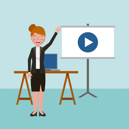 woman teaching by video learning education vector illustration