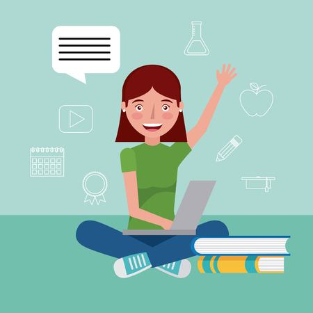 student girl hand up studying online laptop learning education vector illustration