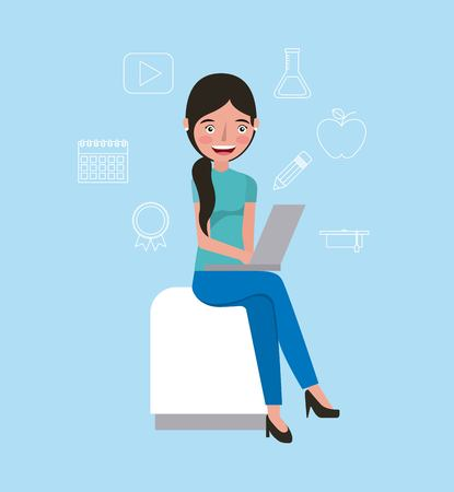 student girl sitting with laptop learning education vector illustration
