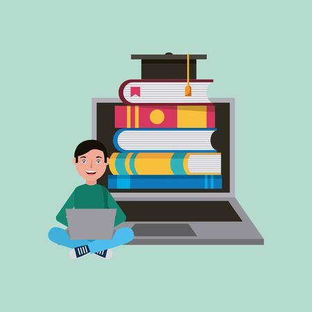 student boy e-books graduation cap learning vector illustration