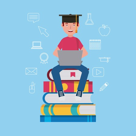 graduate student sitting on stack books learning vector illustration Illustration