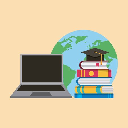 laptop books and graduation hat world learning vector illustration