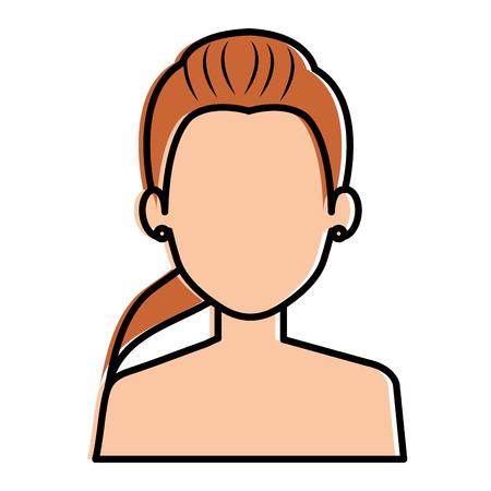 beautiful woman shirtless avatar character vector illustration design