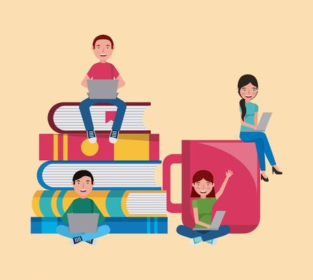 group students with books and coffee cup learning vector illustration Vettoriali