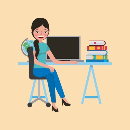 smiling student girl with computer books at desk learning vector illustration