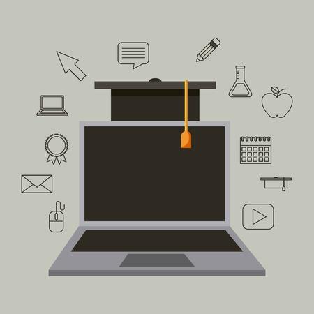 laptop online graduation hat success learning vector illustration Stock Vector - 101532381
