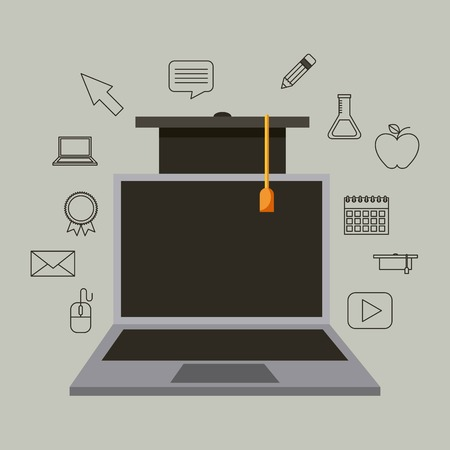 laptop online graduation hat success learning vector illustration