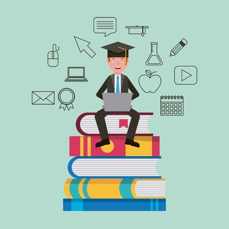 teacher sitting on stacked books learning vector illustration Illustration
