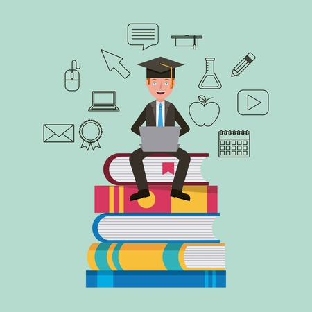 teacher sitting on stacked books learning vector illustration Çizim