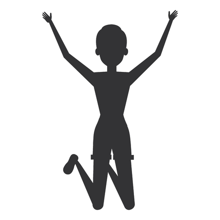 cheerful jumping woman silhouette avatar vector illustration design