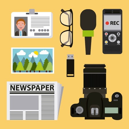 journalism activities work equipment set vector illustration