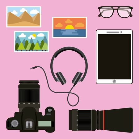 photographic camera mobile headphones and photos activity work equipment vector illustration Ilustração