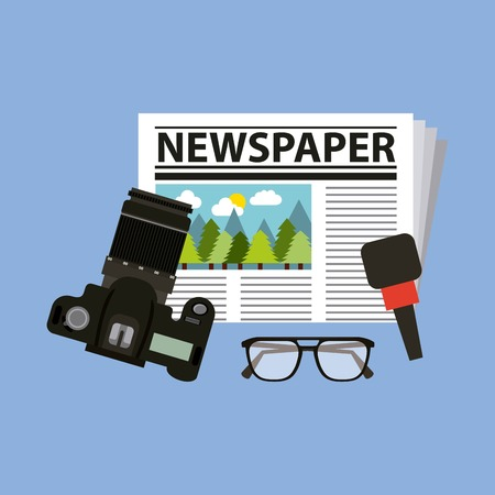 newspaper professional camera microphone and glasses activities work equipment vector illustration Illustration