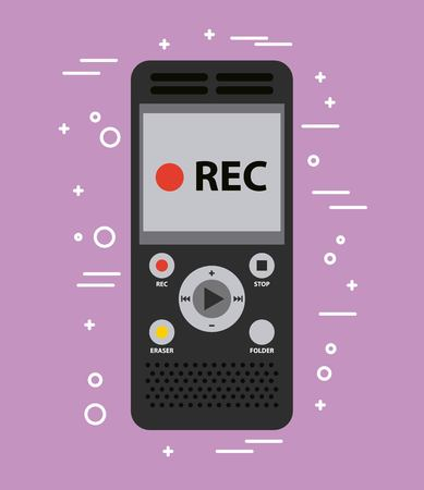 voice recorder sound work equipment vector illustration