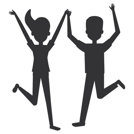 cheerful jumping couple silhouette avatars vector illustration design  イラスト・ベクター素材