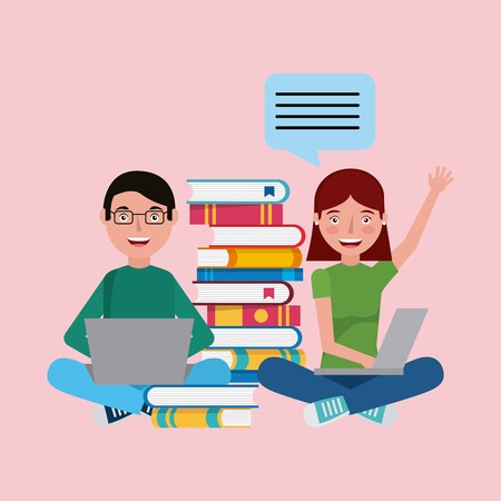 students greeting studying books and laptops learning education vector illustration