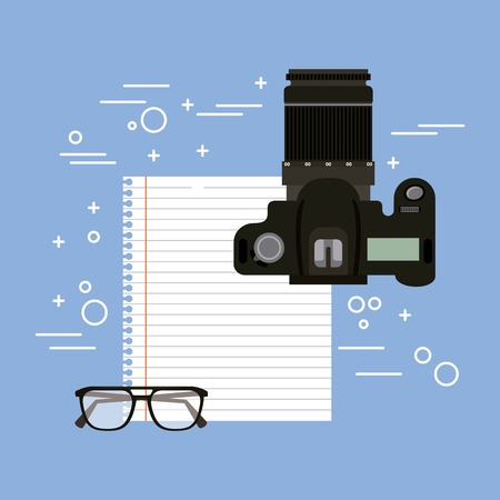 photographic camera paper empty and glasses vector illustration