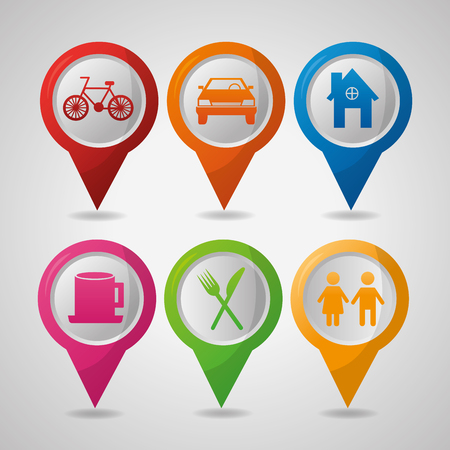 gps navigation application places locations  shades pin maps vector illustration