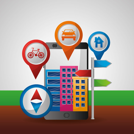 gps navigation city pointer location vector illustration Ilustracja