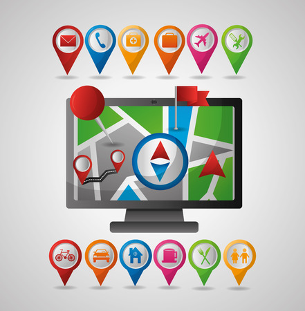 computador pin map compass directions gps navigation application vector illustration Çizim