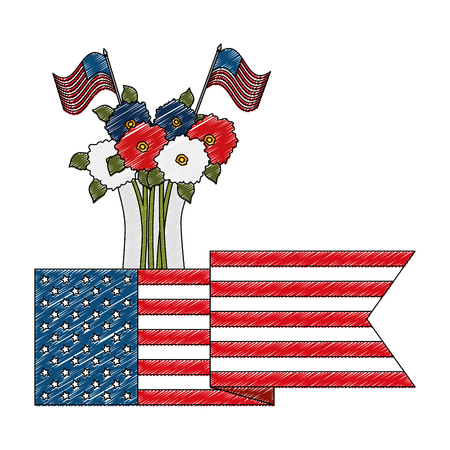 floral decoration with USA flags in vase vector illustration design